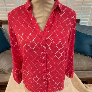 Pink and red button down blouse